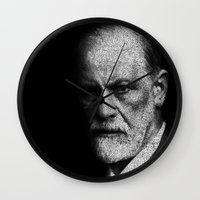 freud Wall Clocks featuring Sigmund Freud quote by JuanOsborne