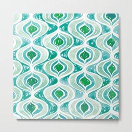 Watercolour Peacock Eyes Pattern | Green and Teal Metal Print