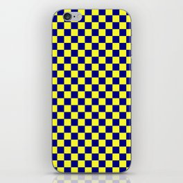 Electric Yellow and Navy Blue Checkerboard iPhone Skin