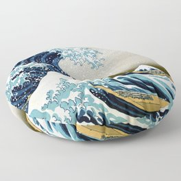 The great wave, famous Japanese artwork Floor Pillow