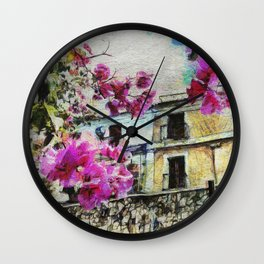 Vintage street in calabria Wall Clock