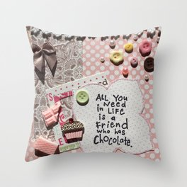 Pink chocolate Throw Pillow