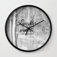 les miserables Wall Clocks featuring Les Miserables Quote Winter by KimberosePhotography