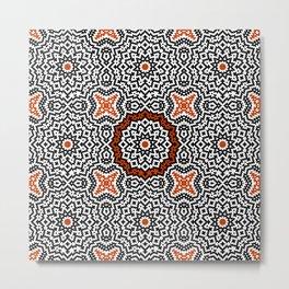 Pixel Floral Geometrical Metal Print