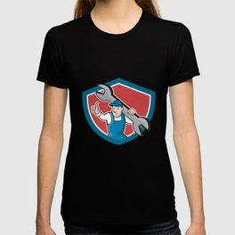 Mechanic Thumbs Up Spanner Shield Cartoon T-shirt
