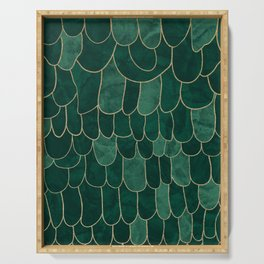 Stratosphere Emerald // Abstract Green Flowing Gradient Gold Foil Cloud Lining Water Color Decor Serving Tray