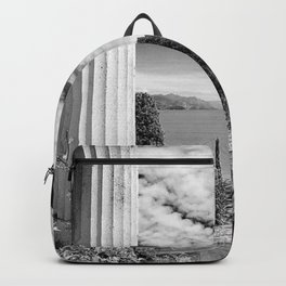 Roman Ruins, Garda, Sirmione, Italy landscape coastal black and white photograph / art photography  Backpack