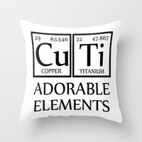 periodic table Throw Pillows featuring CUTI Adorable Elements Periodic Table by raineon