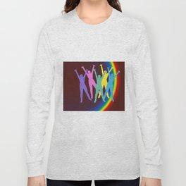 joyful man and rainbow Long Sleeve T-shirt