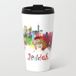 Jeddah skyline in watercolor Travel Mug