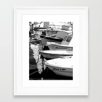 boats Framed Art Prints featuring boats by habish