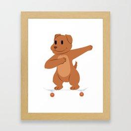 Skateboarding Dog or Puppy on Skateboard Gift for Skater  Framed Art Print