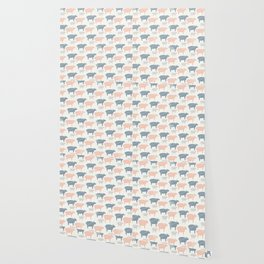 Pink Blue and Grey Pastel Color Sheep Silhouette Wallpaper