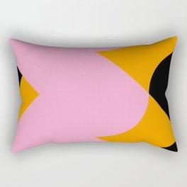 Vertical black and orange waves, in a pink sea, near three black orange mountains. Rectangular Pillow