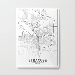Minimal City Maps - Map Of Syracuse, New York, United States Metal Print