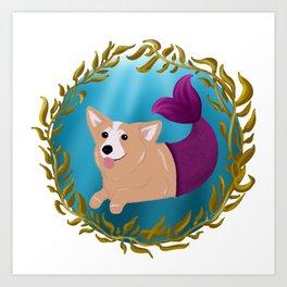 Corgi in Seaweed Art Print