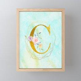 Faux Gold Foil Alphabet Letter C Initials Monogram Frame with a Gold Geometric Wreath Framed Mini Art Print