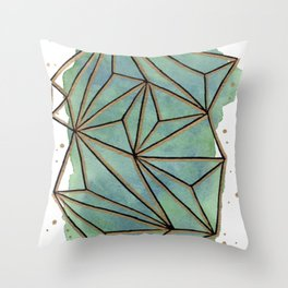 Abstract Geometric with Watercolor Background Throw Pillow