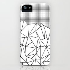 Abstract Outline Grid Black on White Slim Case iPhone SE