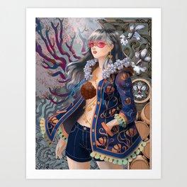 Flower Girl in Classic Blue Jacket Art Print