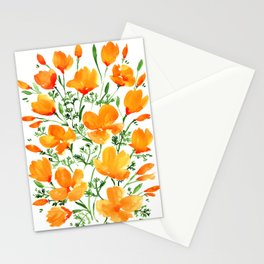 Watercolor California poppies Stationery Cards