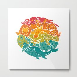 Animal Rainbow Metal Print