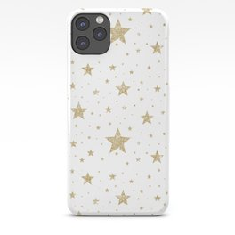 gold stars pattern white iPhone Case