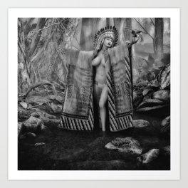 Indian Princess 3 bw Art Print