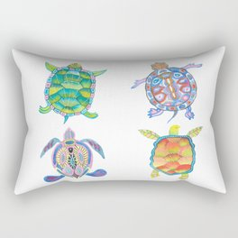 Four Sea Turtle Friends -multicolor theme Rectangular Pillow