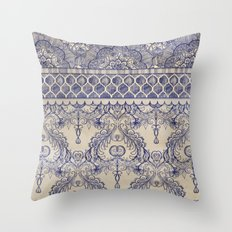 Vintage Wallpaper - hand drawn patterns in navy blue & cream Throw Pillow