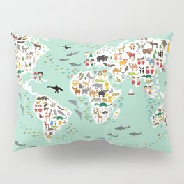 Cartoon animal world map for children and kids, back to schhool. Animals from all over the world Pillow Sham