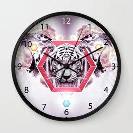 Abstract Tiger Fashion in geometric hexagon Wall Clock