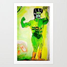 green muscle man Art Print