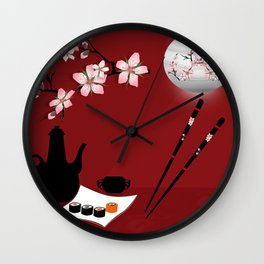 Oriental cuisine . Sushi and rolls . Wall Clock