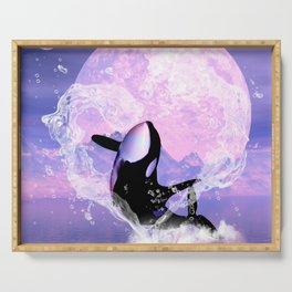 Orca jumping by a heart Serving Tray