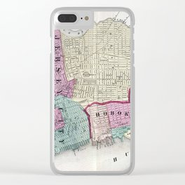 Vintage Map of Jersey City, Hoboken & Weehawken NJ Clear iPhone Case