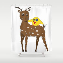 Diego the Deer and Yellow Bird Shower Curtain
