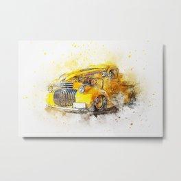 Vintage car watercolour Metal Print