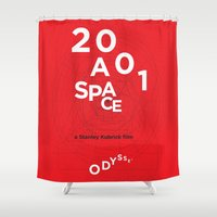 2001 Shower Curtains featuring 2001: a space odyssey by Rodrigo Müller