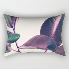 Pink and Green Iridescent Leaves Rectangular Pillow