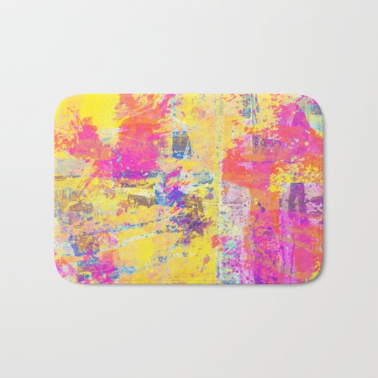 Always Look On The Bright Side - Abstract, textured painting Bath Mat