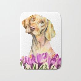 Angelic | Vizsla Dog and Crocus Flower Watercolor Painting Bath Mat