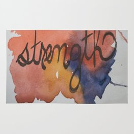 strength watercolor print Rug