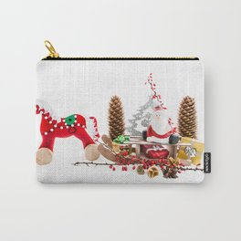 Santa Claus on wooden sled Carry-All Pouch