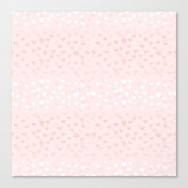 Hearts in light pink Canvas Print