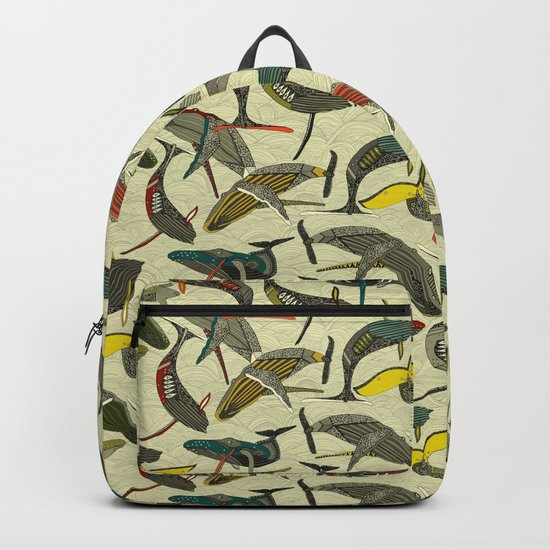whales and waves bold Backpack