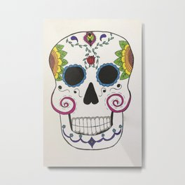 Day of the Dead Skull in Color Metal Print