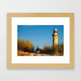 Old lighthouse from Hanseatic city of Rostock Framed Art Print