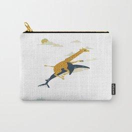 Giraffe riding shark Carry-All Pouch