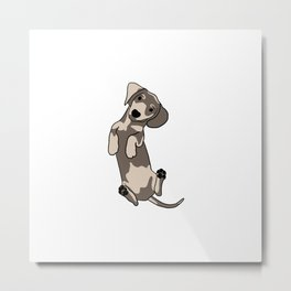 Happy dachshund illustration Metal Print